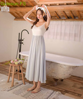 New Women Summer High Faux Silk Sleeveless Halter Nightgown Lady princess Sweet Korea Nightdress Sleep Wear C8052