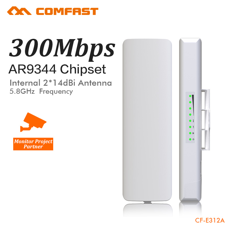COMFAST Wireless bridge outdoor 300Mbps router 5.8g WIFI signal booster Amplifier long range Antenna wi fi access point CF-E312A new 2pcs 5w 5 8ghz wifi wireless broadband amplifier plug and play 802 11b g n high power range signal booster for wifi router