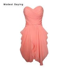 Real Elegant Coral Sheath Sweetheart Short Ruffled Bridesmaid Dresses 2017  Formal Girls Mini Chiffon Maid of. 2 Colors Available 08de520fb034