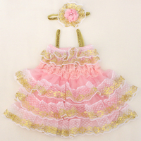 New Arrival Pink Ruffle Gold Lace Petti Dress For Baby Girls Wholesale Retail Baby Kids Cute