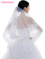 Fashionable Bridal Veil  2016 Two Layers White Tulle with Comb Paillette Wedding Accessories Brand New Wedding Veils