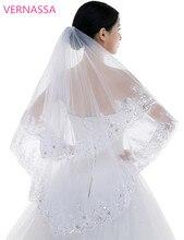 Модные Фата 2016 два слоя белый тюль с расческой блестка Свадебные аксессуары Фирменная Новинка фаты