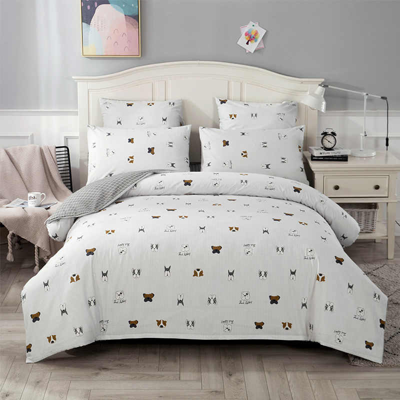 4/7pcs quilt cover sheet pillow comforter bedding set cotton euro pastel double side solid and flower printed bed set