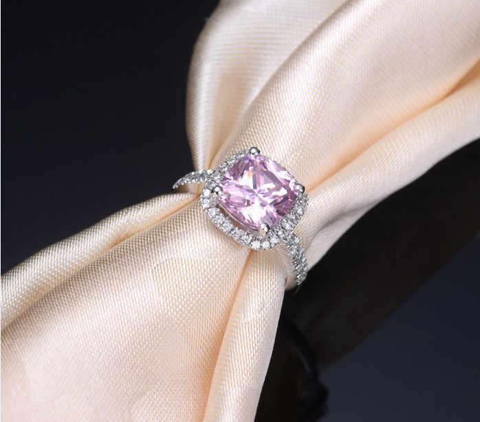YANHUI Đồ Trang Sức Mỹ Bất Động 925 Sterling Silver Nhẫn Set 3 Carat Hồng CZ Diamant Engagement Cưới Nhẫn Nhẫn Đối Với Phụ Nữ JZR068