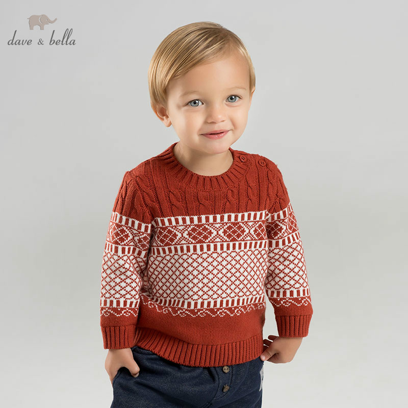 все цены на DBM8911 dave bella baby boys sweater children knitted sweater kids autumn pullover toddler boutique tops