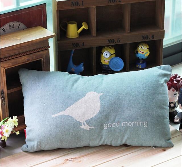 Blue Color Seat Cushion Good Morning Cotton Sofa Pillow Soft Waist High