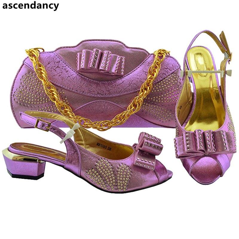 Sacs Mode Strass Femme Dames peach lilac À Nigérian argent violet Ensemble Décoré Noir Hauts Avec Chaussures rouge Mariage Talons De Et Femmes Italiennes or YOqrqg5z