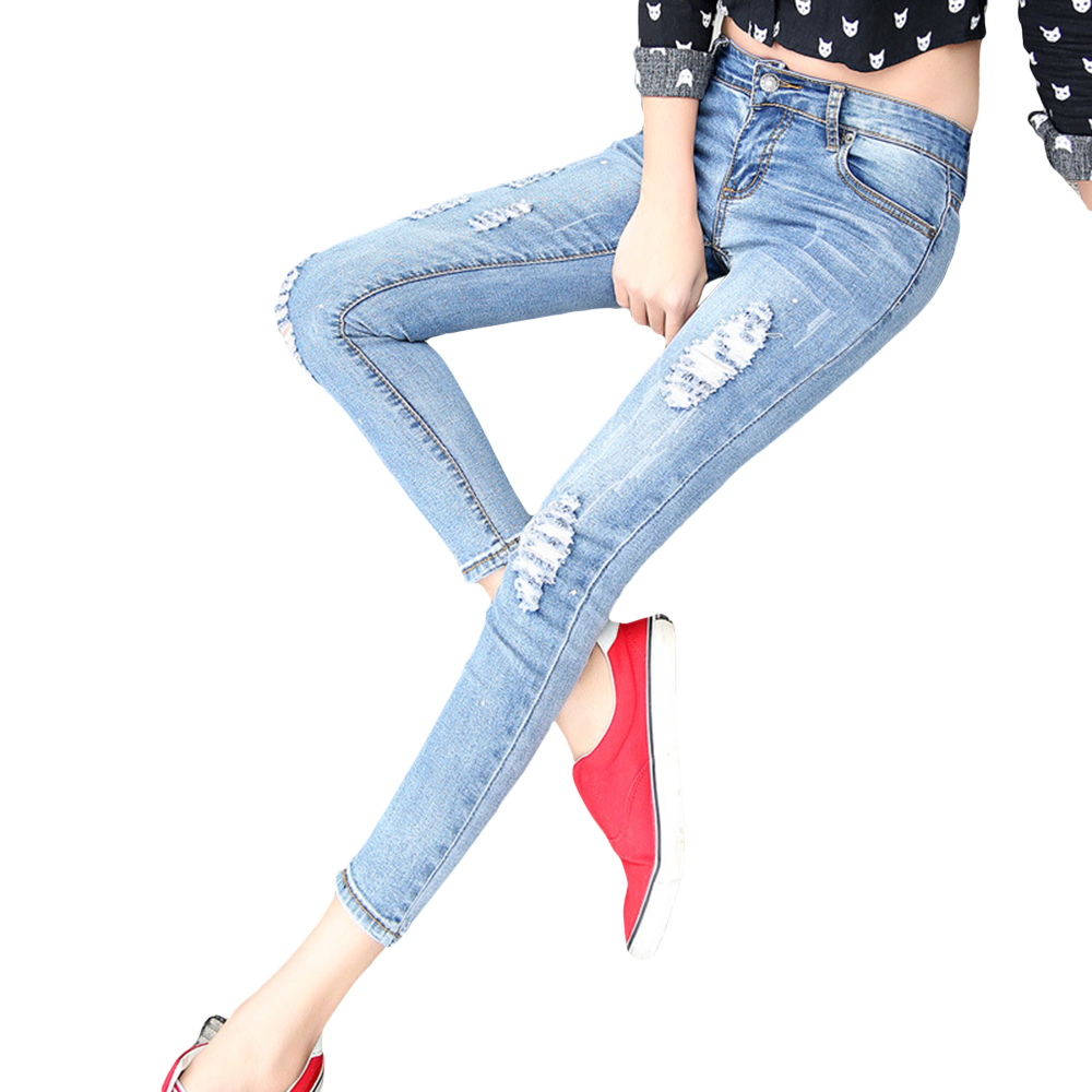 2016 New Skinny Women Ankle-length Denim Pants Hole Ripped Jeans Casual Slim Fit Mid-Waist Pencil Pants Elastic Femme Trousers rosicil new women jeans low waist stretch ankle length slim pencil pants fashion female jeans plus size jeans femme 2017 tsl049