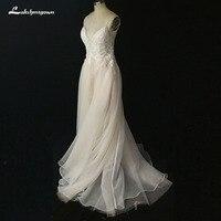 Sexy Глубокий v образным вырезом Свадебные платья А 2018 тюль открытой спиной Мини Свадебные платья с жемчугом gelinlik индивидуальный заказ