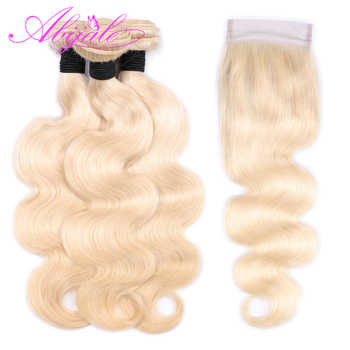 Abijale Blonde Body Weave Bundles With Closure Brazilian Hair Weave Bundles With Closure Human Hair Bundles With Closure Remy - DISCOUNT ITEM  41% OFF Hair Extensions & Wigs
