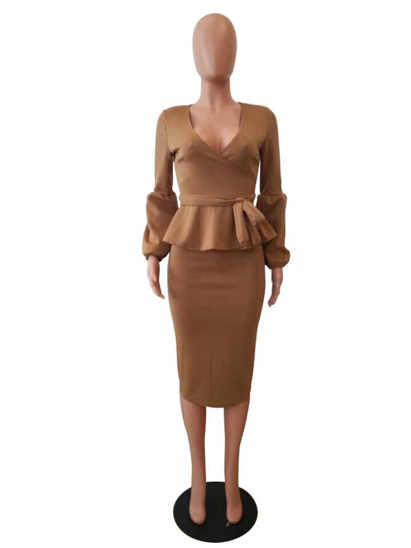 ... 2018 Autumn Fashion Women Office Dresses Peplum Pencil Dress Lantern  Sleeve Formal Business Attire Wear to ... 66684c649821