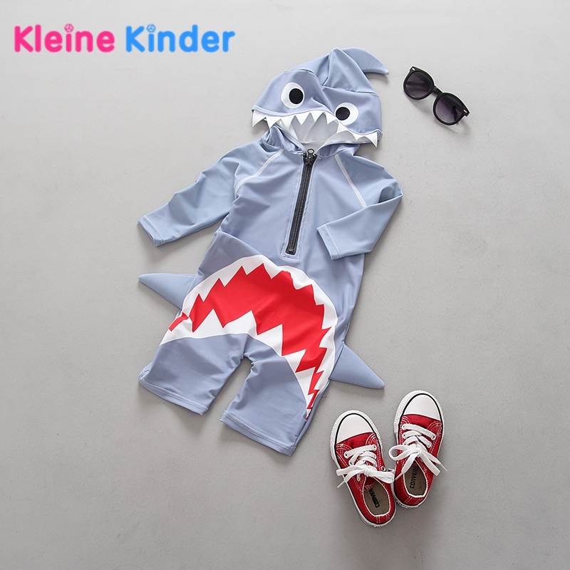 3D Shark Print Swimsuit for Boys Great Quality Kids Swimming Suit One Piece Romper Baby Boy Swimsuit Bathing Beach Rash Guards toddler boys swimwear infant baby boy swimsuit shark print long sleeves rash guards beachwear swimming outfits sun block upf50