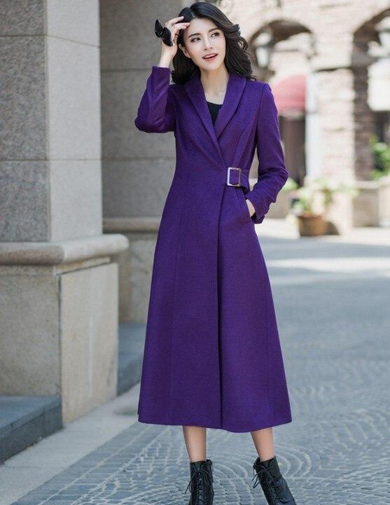 Élégant De Manteau Pourpre Couleur Laine Solide Dames Violet Veste Automne Outwear Hiver Mode Femmes 2018 Nouveau Longue Mince Cachemire 5xU0wq6nAn