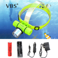 Diving Headlamp CREE XM-Q5 LED Underwater Waterproof 150m Headlight + Charger Dive + 18650 Flashlight IP68 Head Light Lamp Torch