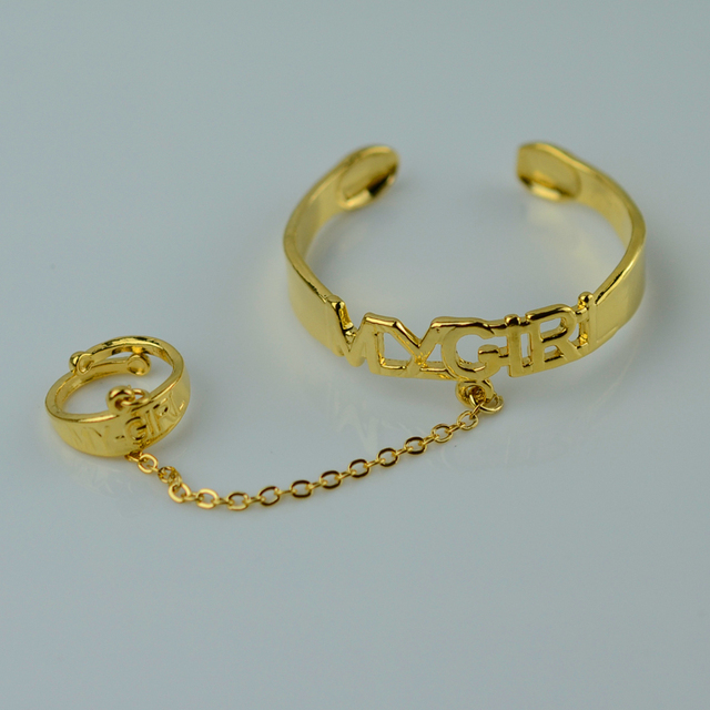 "Baby Bangle Ring set Jewelry ""My Girl"" stamp bracelet ring18k gold"