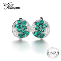 JewelryPalace 925 Sterling Silver Slim Antique Artilady Shiny Luxury Classic Bridal 3.5ct Emerald Clip Earrings Fine Jewelry