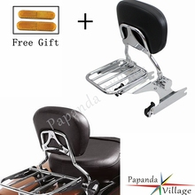 Papanda Motorcycle Chrome Backrest Sissy Bar Adjustable Luggage Rack for Harley Softail 2000-later
