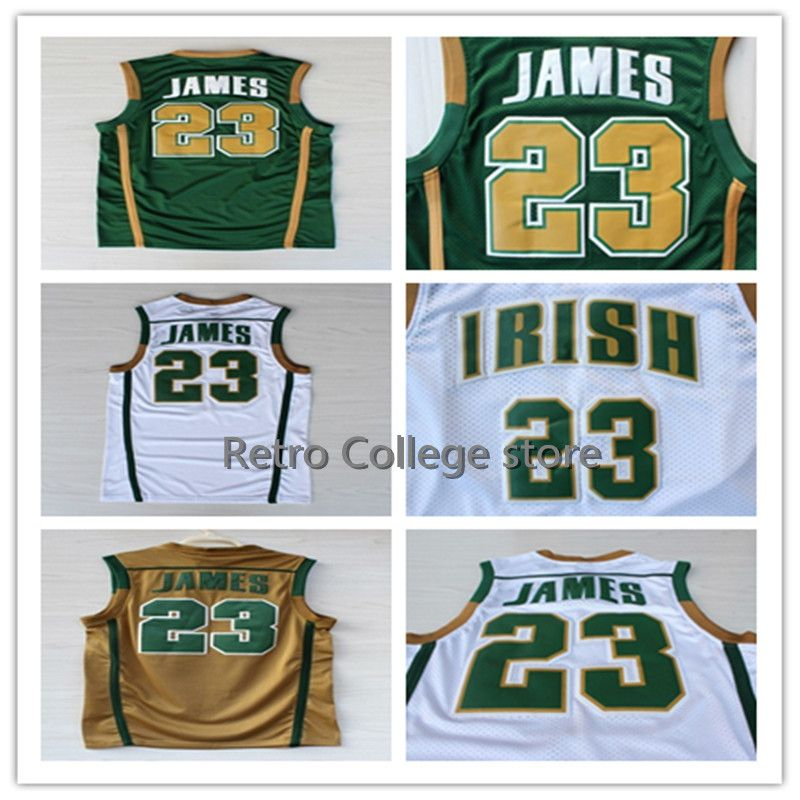 2499cdc0d Irish High School  23 LeBron James Basketball Jersey Embroidery Stitched US  Size XXS-XXL