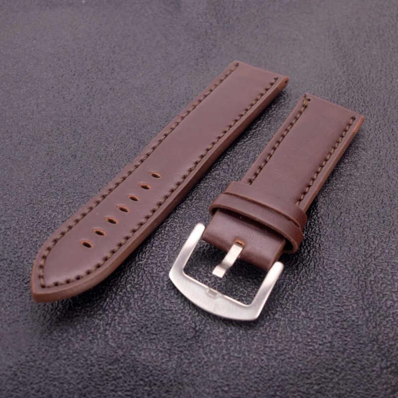 Jakości zegarek skórzany pasek 22mm mężczyzna paski do zegarków brązowy czarny zegarek pasek na nadgarstek Watchband z klamrą ze stali nierdzewnej