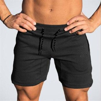 2017 Baru musim panas merek Mens celana pendek katun Calf Panjang gyms Kebugaran Bodybuilding workout Jogging Kasual Merek olahraga celana pendek