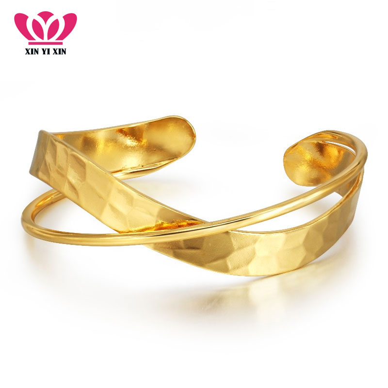 2018 New Arrival Vintage Wide Cuff Bracelets & Bangles Golden Plated Real Copper Pulseras Fashion Simple Design Ladies Bangle