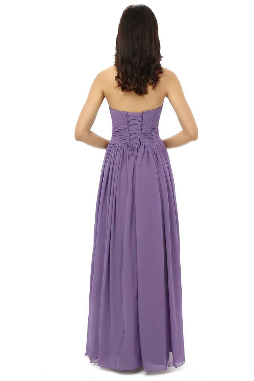 Nouveau 2019 robes de demoiselle d'honneur pas cher moins de 50 a-ligne chérie longueur de plancher en mousseline de soie violet clair robes de fête de mariage - 3