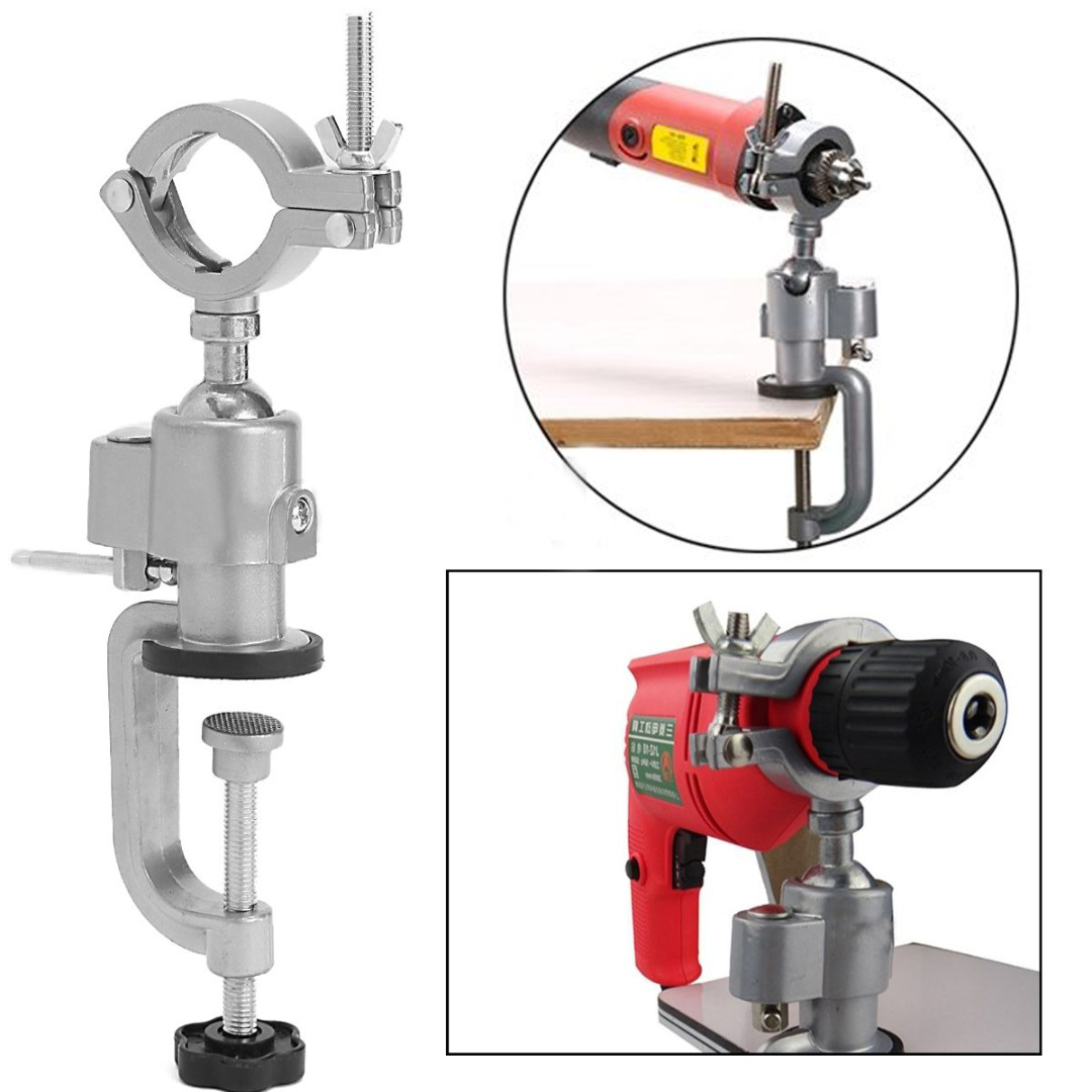 1pc 360 Degree Rotating Clamp-on Grinder Holder Bench Vise Aluminum Alloy For Electric Drill Stand 1pc multifunctional 360 degree aluminum electric grinding bench clamp vise mini drill accessory