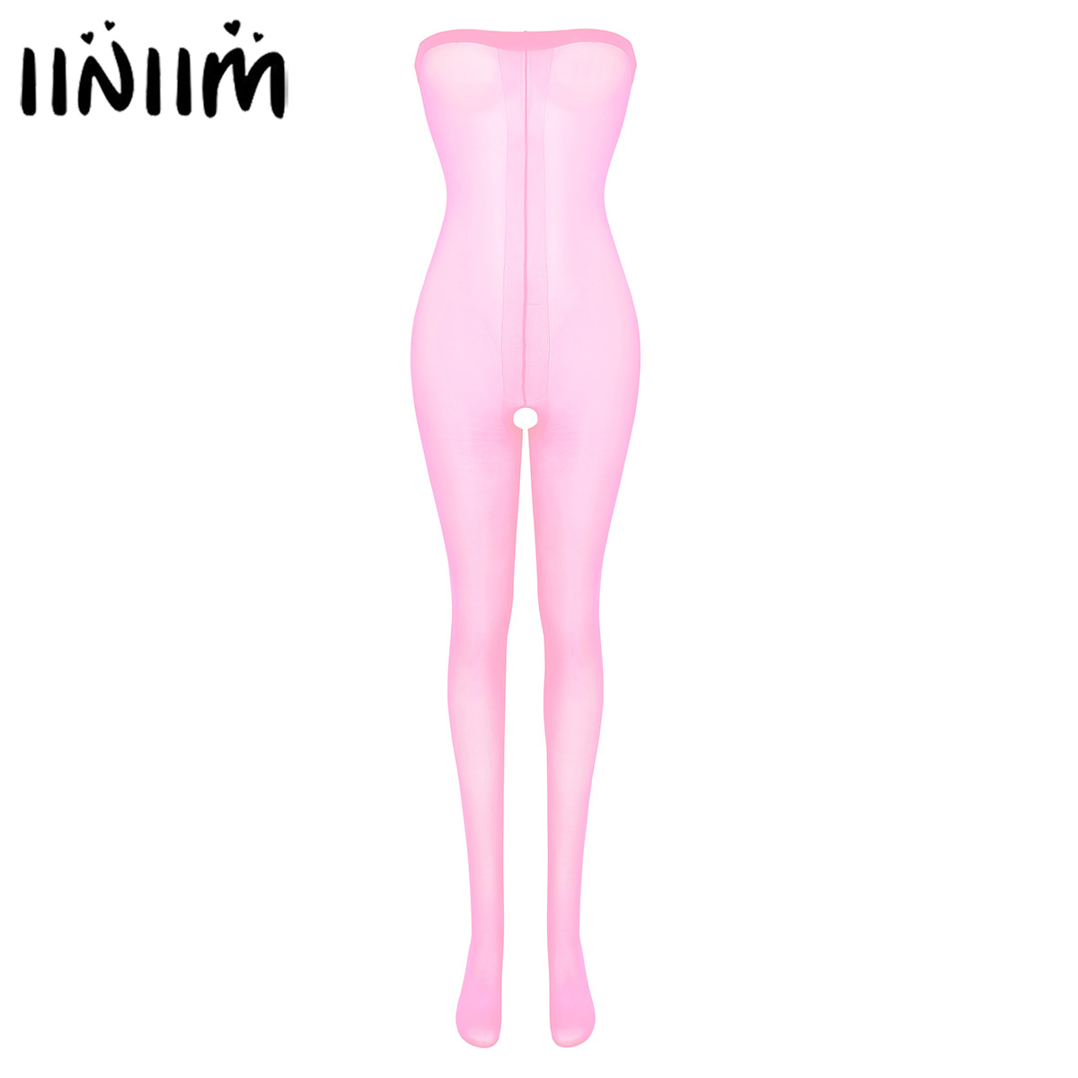 Womens Ultra Shimmery Stretch Toe to Bust Crotchless 30 Denier Body Stocking Pantyhose Lingerie Tights Underwear Femme