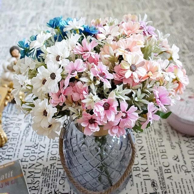 15heads1 Bundle Artificial Plastic Flowers Sunflower Bouquet