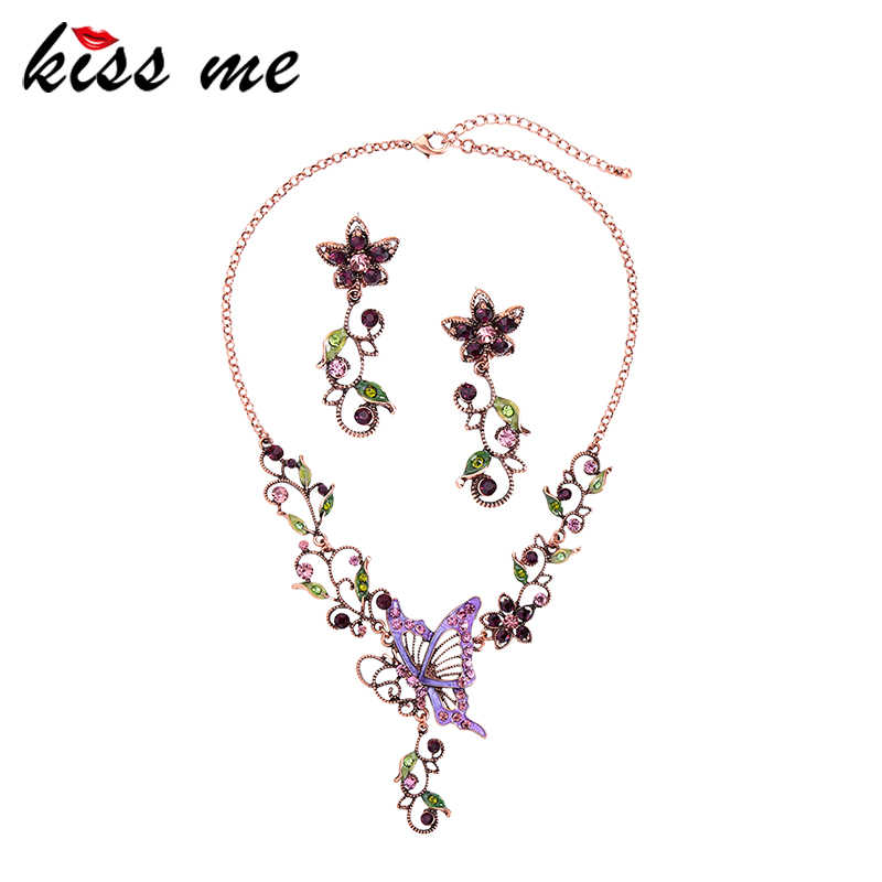 kissme Vintage Style Jewelry Sets Unique Crystal Enamel Butterfly Flowers Statement Necklace Earrings For Women Fashion Jewelry
