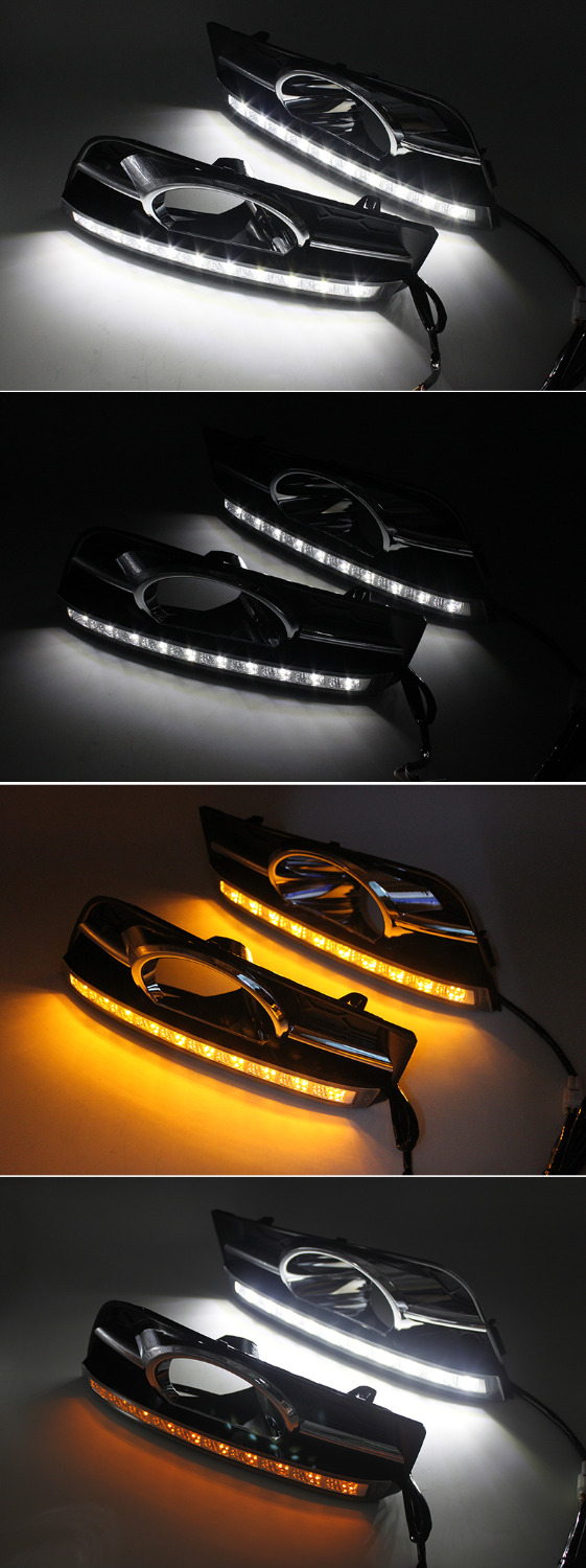 SUNKIA Waterproof LED Daytime Running Light DRL For Chevrolet Cruze (2009-2012) DRL Fog Lamp with Turn Signal Dimmed Light