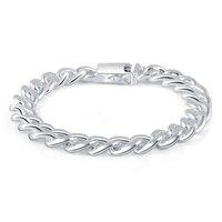 ANDARA 10mm Sideways Bracelet Men 925 Silver Fashion Jewelry For Men Bracelets Free Shipping