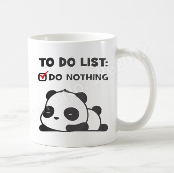 Cute Lazy Panda Mug Funny Panda To Do List Coffee Mug Beer Cup Kawaii Novelty Creative Lazy  Xmas Birthday Gifts Ceramic 11oz