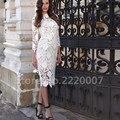 Новые Короткие Кружева мама Невесты Платья Три Четверти Длиной До Колен Женщины Полотна Высокого шеи Женщины Свадебные Платья случаю