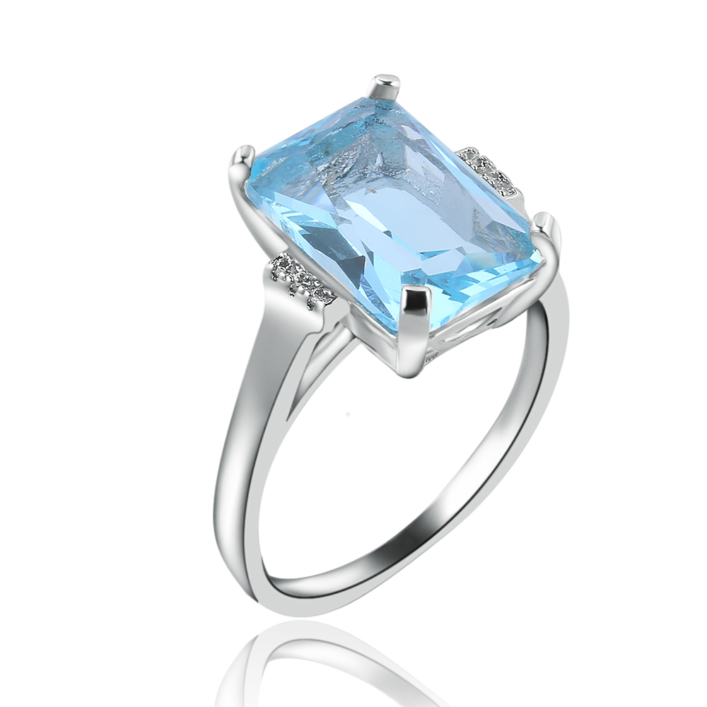Elegant Top Natural Sky Blue Created Engagement Rings For Women Jewelry