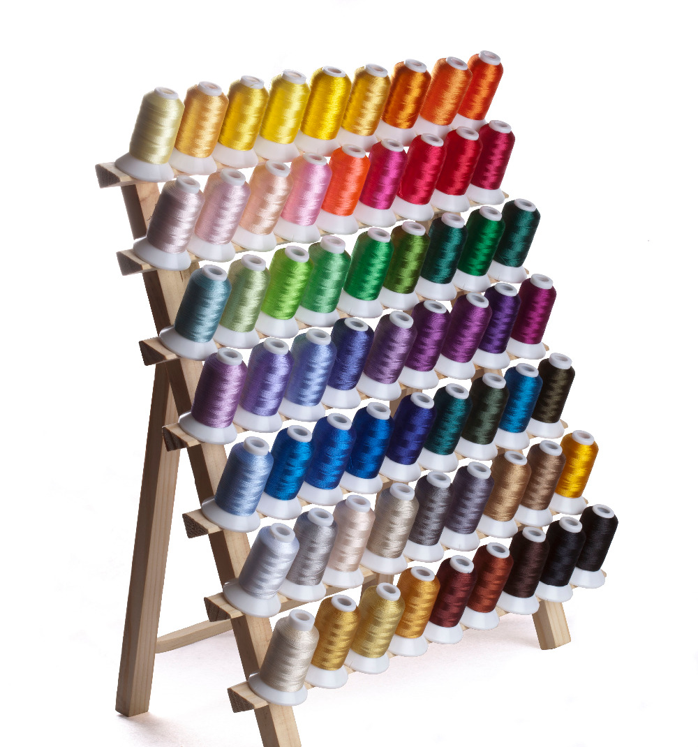 Simthread Polyester Embroidery Machine Spools Thread 63 Brother Colors 550 Yards Each with 5pcs Type A