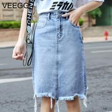 VEEGGI nueva moda de verano de las mujeres falda de cintura alta recta Slim Falda  Midi Color azul Denim agujero falda A1901140 3f249b42d69c