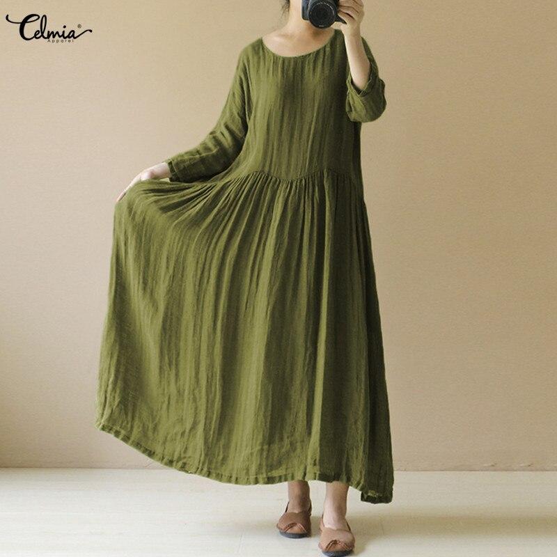 Celmia Women Vintage Linen Dress 2018 Summer Autumn O Neck Long Sleeve Casual Loose Solid Maxi Long Oversized Vestidos Plus Size