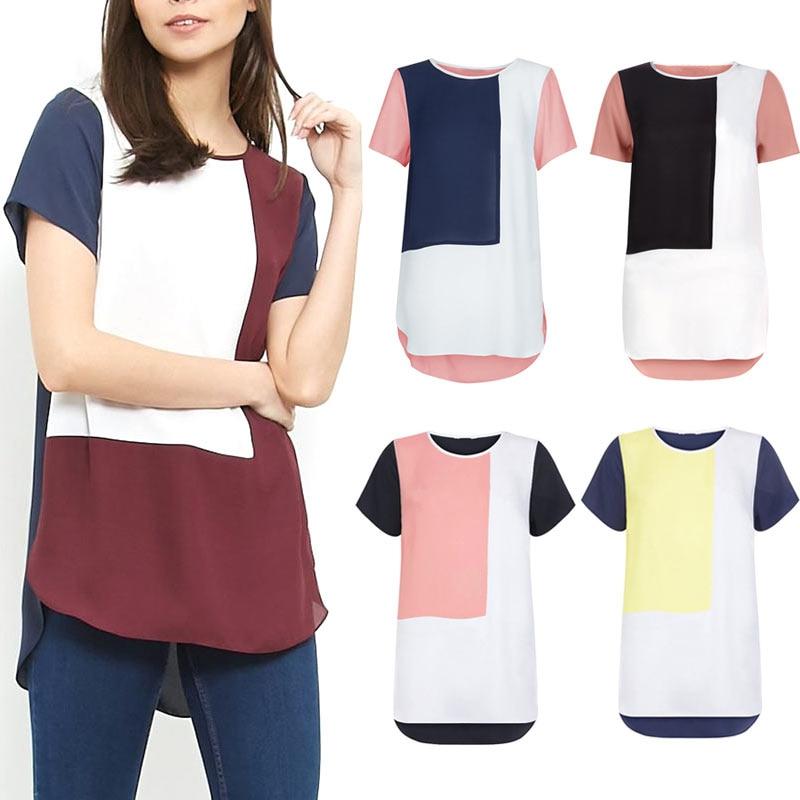 Women Loose Long Chiffon   Blouse   Casual Patchwork Summer Geometric   Blouses     Shirt   Plus Size 6XL IK88