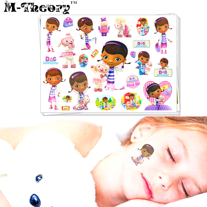 Kids Favorites Tattoo Stickers Water Transfer Temporary Body Art Waterproof 3-5 Days 100% Safe Doctor Mcstuffins