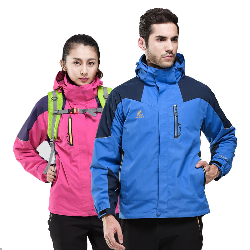 2019 New Brand Men Women Spring Winter 3 in 1 Removable Two-piece Waterproof Windproof Breathable Climbing Outdoor Jacket