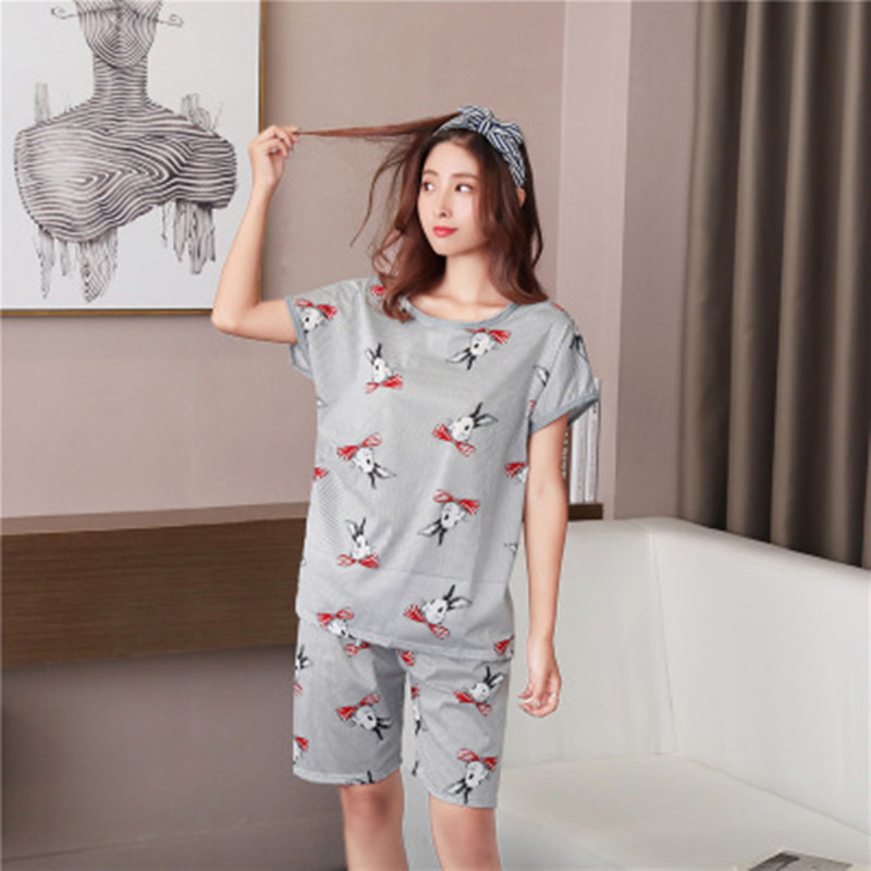 Big Size Summer Women Pyjamas Thin   Pajamas     Set   Shorts T-Shirt Cartoon Bunny Print Mom Rayon Cotton Stitch Homewear 2Piece/  Set