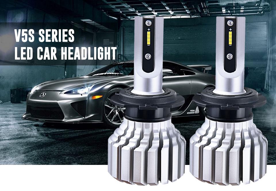 Foxcnsun LED H4 Car Bulbs 6500K Auto H7 LED Headlight Fan-less Head Lamp SUV 50W CSP Chips H11 9005 9006 led H3 H1 Bulbs H15 H8 (1)