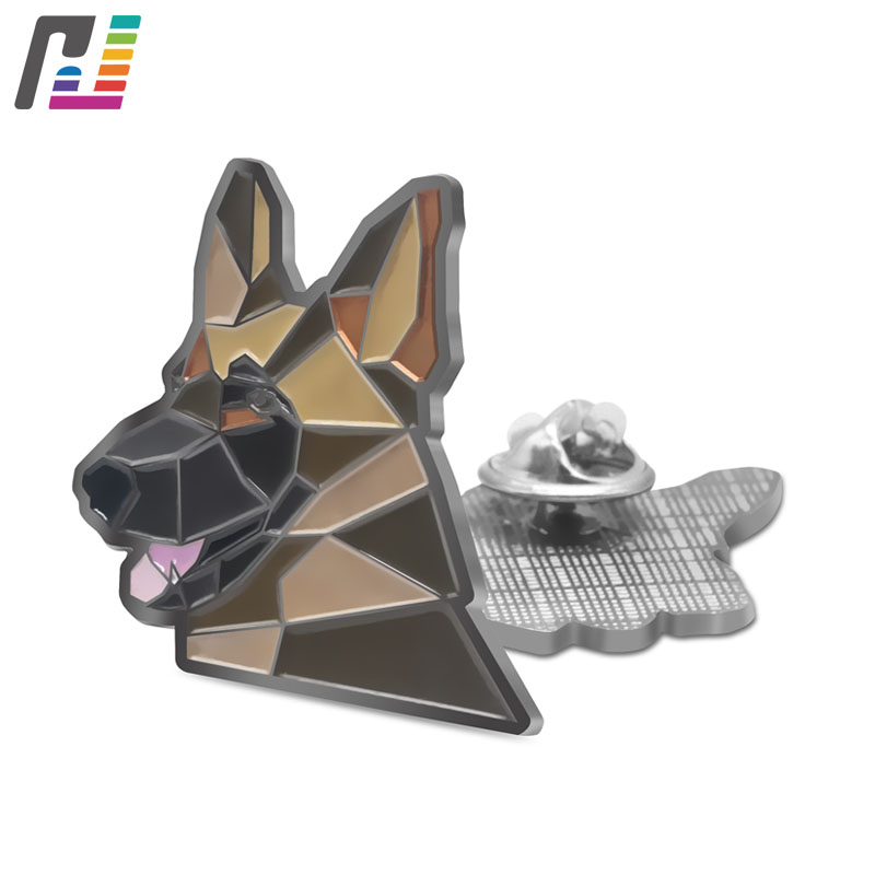 Cool Dog German Shepherd Brooch Pin Animal Pet Dog Pins Brooches for Women Men Clothing Denim Jacket Enamel Pin at least 50PCS