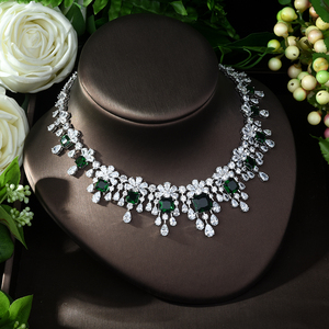 Image 5 - HIBRIDE najnowszy luksusowy Sparking Brilliant Cubic naszyjnik cyrkoniowy kolczyki ślubne biżuteria dla nowożeńców sukienka akcesoria N 988