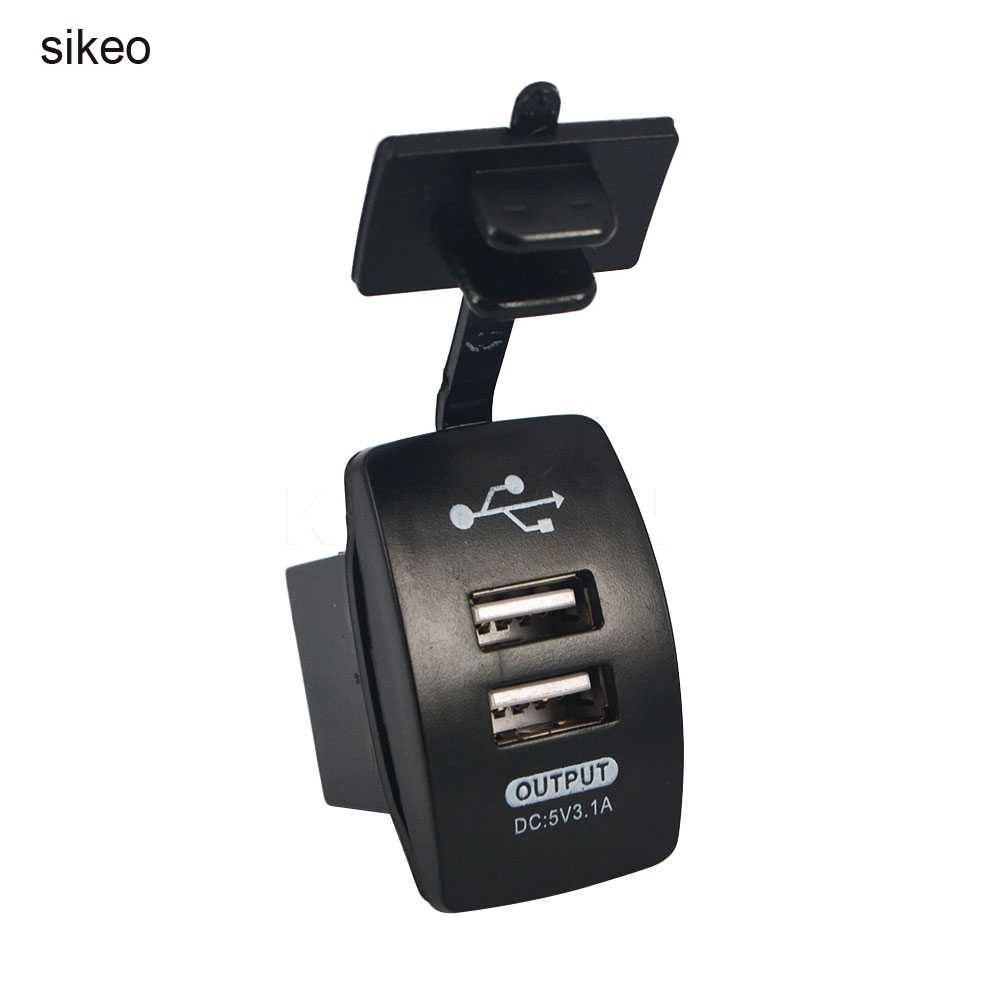 sikeo Outlet Power Socket Power Adapter Motorcycle Moto Car DC Dual USB Charger Switches 5V 3.1A for Car Truck ATV Boat