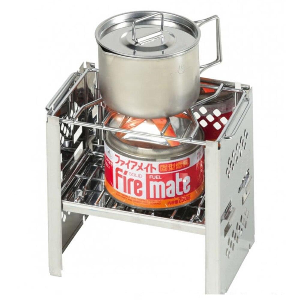 PSKOOK Camping poêle Portable pliant léger en acier inoxydable poêle à bois sac à dos poêle pique-nique barbecue cuisinière