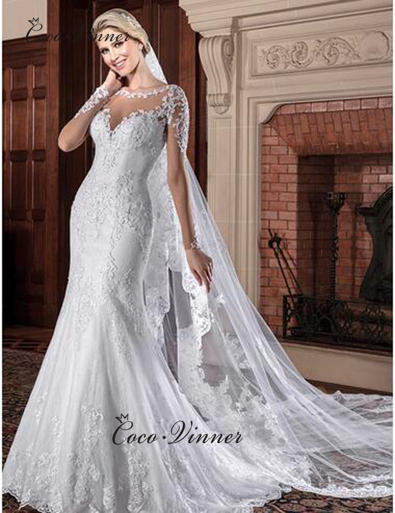 Pearls Beading Long Sleeves Mermaid Wedding Dress 2019 Vestido De Noiva Sheer Neck Illusion Wedding Dresses Bride Dress W0065