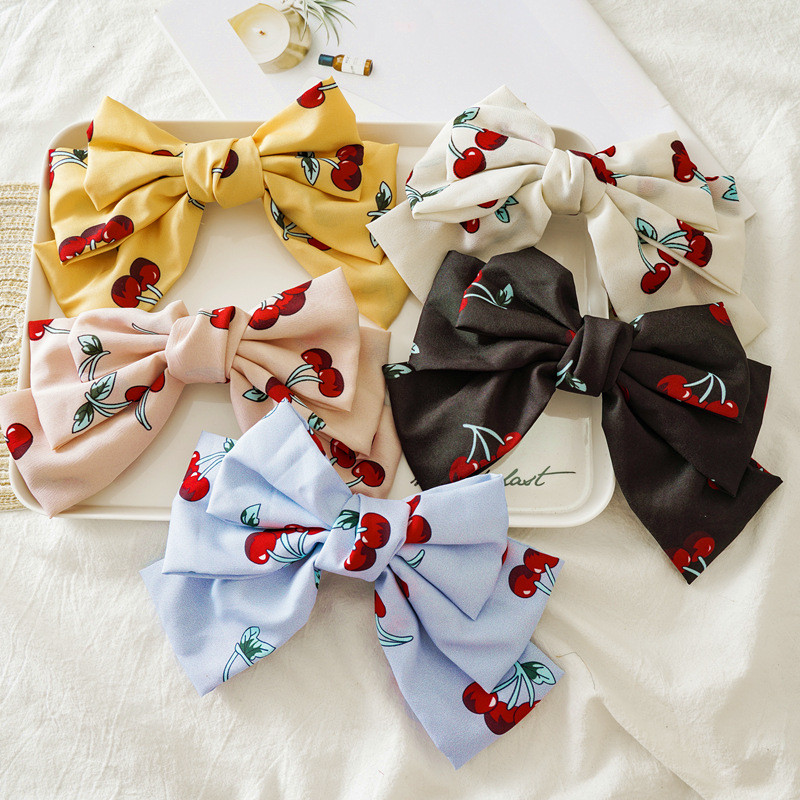 Ruoshui Printed Cherry Hairpins France Clips For Woman Bowknot Hairpins Girls Hair Accessories Hair Clips Hairbow   Headwear