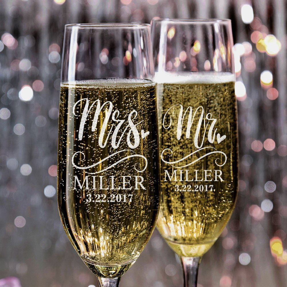 A Set of 2 Mr. Mrs. Wedding Champagne Flutes Personalized